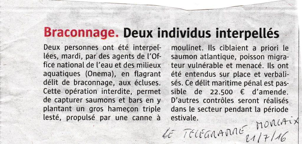 Braconnage - Le Télégramme 21/07/2016